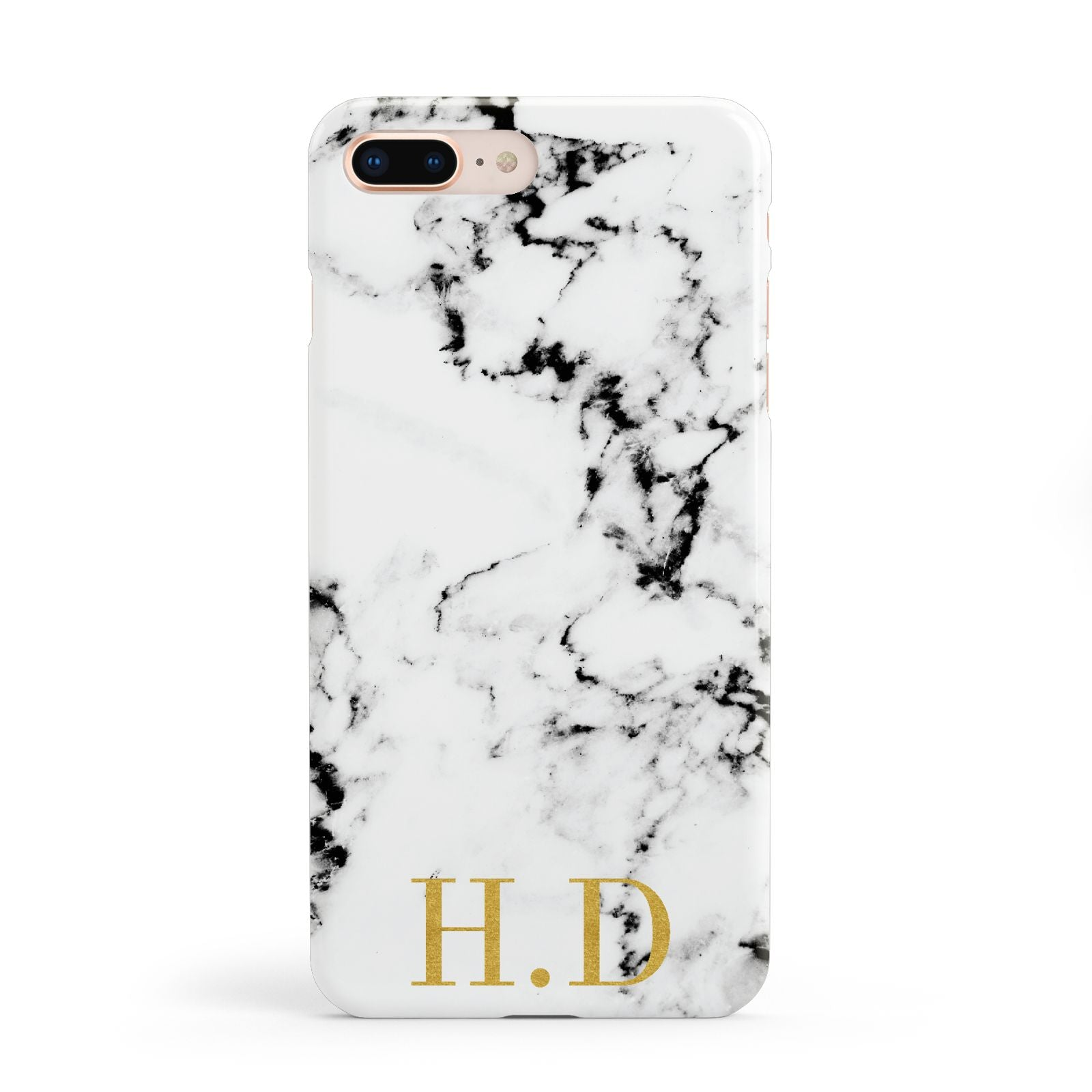 Personalised Gold Initials Marble New Apple iPhone 8 Plus Case