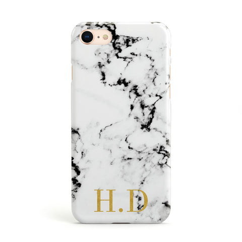 Gold Initials Marble Effect Personalised Apple iPhone Case