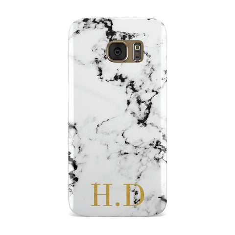 Gold Initials Marble Effect Personalised Samsung Galaxy Case