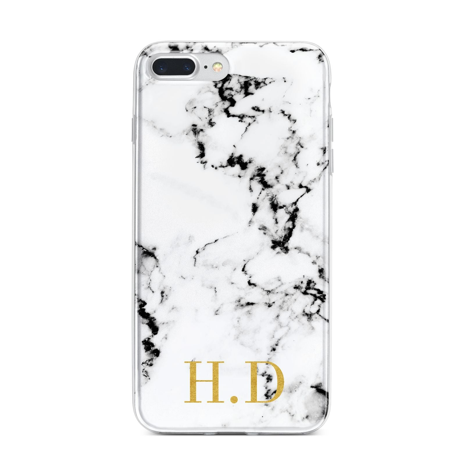 Personalised Gold Initials Marble New iPhone 7 Plus Bumper Case on Silver iPhone