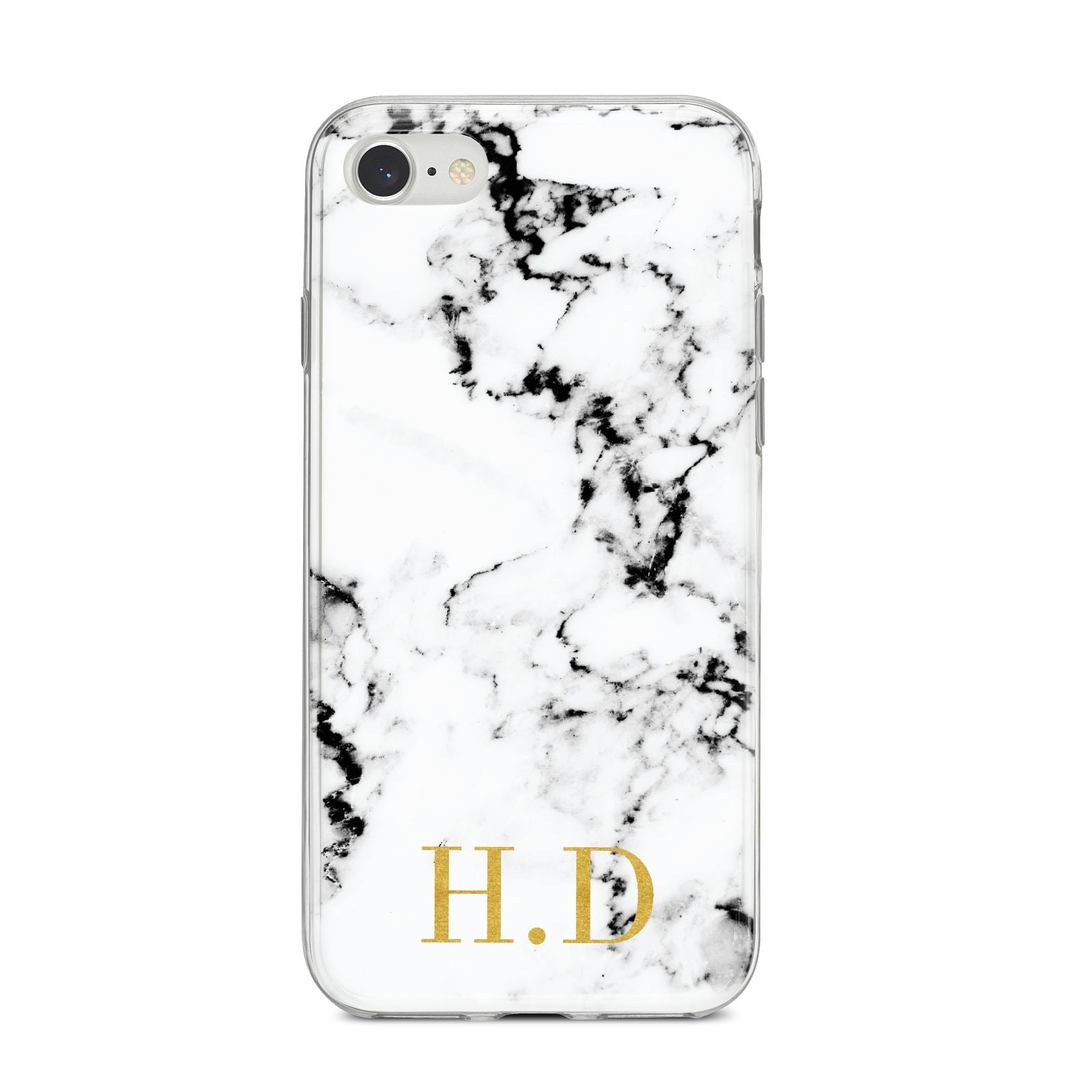 Personalised Gold Initials Marble New iPhone 8 Bumper Case on Silver iPhone