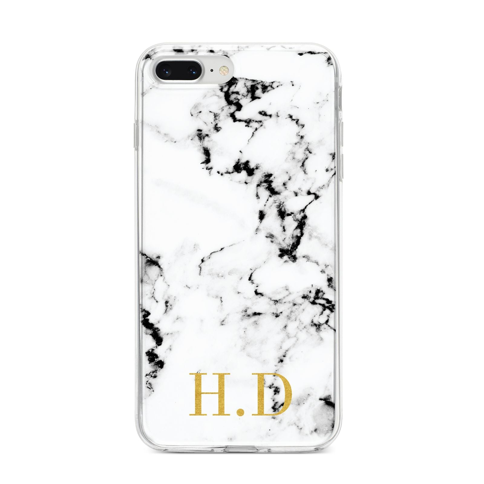 Personalised Gold Initials Marble New iPhone 8 Plus Bumper Case on Silver iPhone
