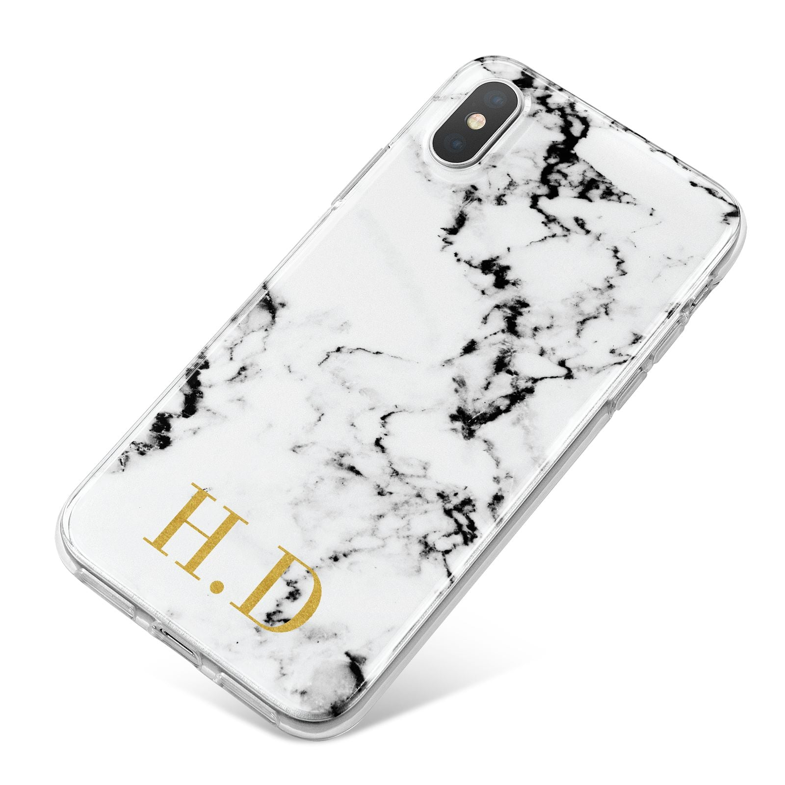 Personalised Gold Initials Marble New iPhone X Bumper Case on Silver iPhone