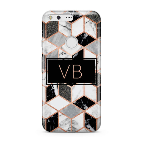 Personalised Rose Gold Marble Effect Initials Google Case