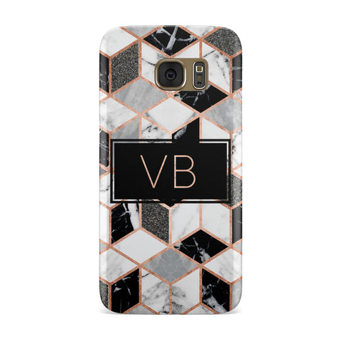 Personalised Rose Gold Marble Effect Initials Samsung Galaxy Case