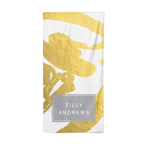 Personalised Gold Leaf White With Name Beach Towel