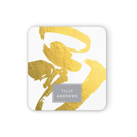 Personalised Gold Leaf White With Name Coasters set of 4