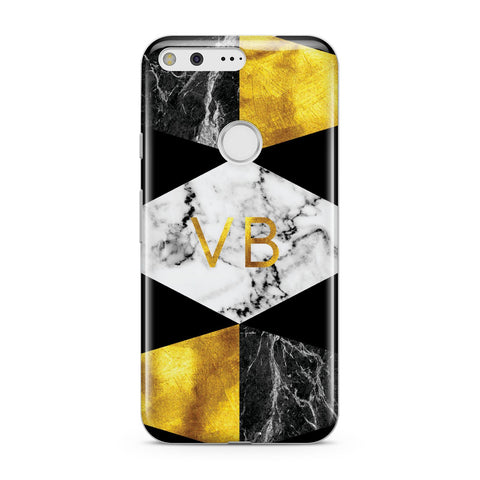 Personalised Gold & Marble Initials Google Case