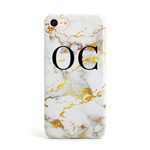 Personalised Gold Veined Marble Initials Apple iPhone Case