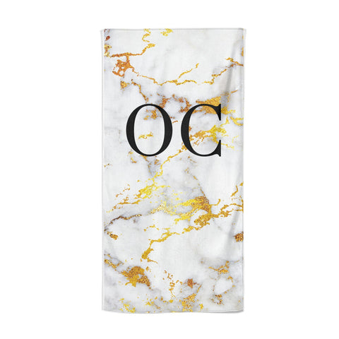Personalised Gold Marble Initials Monogram Beach Towel