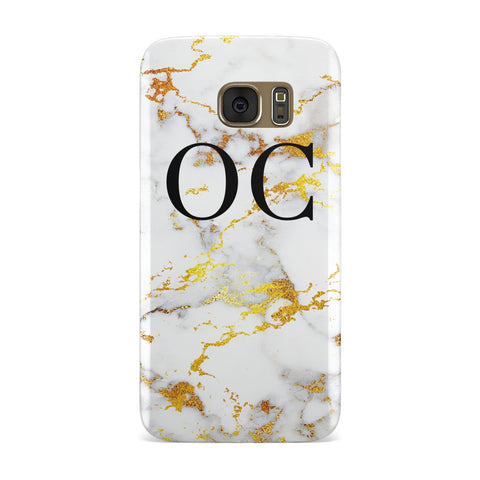 Personalised Gold Veined Marble Initials Samsung Galaxy Case