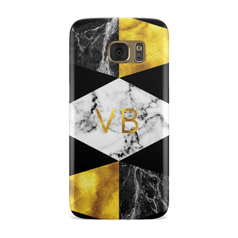Personalised Gold & Marble Initials Samsung Galaxy Case