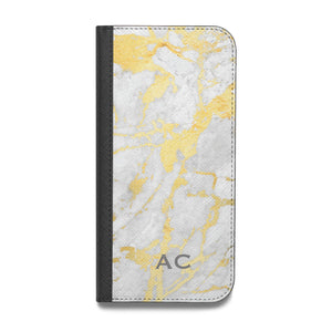 Personalised Gold Marble Initials Vegan Leather Flip iPhone Case