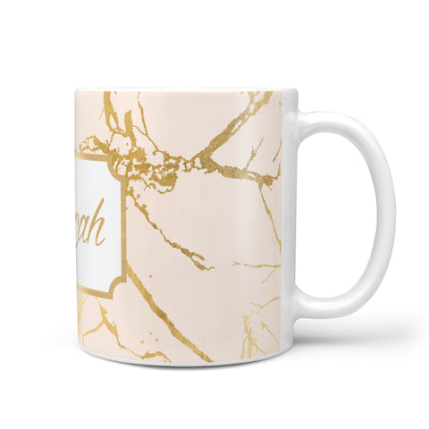 Personalised Gold Marble Pink & Name Mug