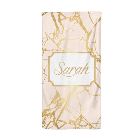 Personalised Gold Marble Pink & Name Beach Towel