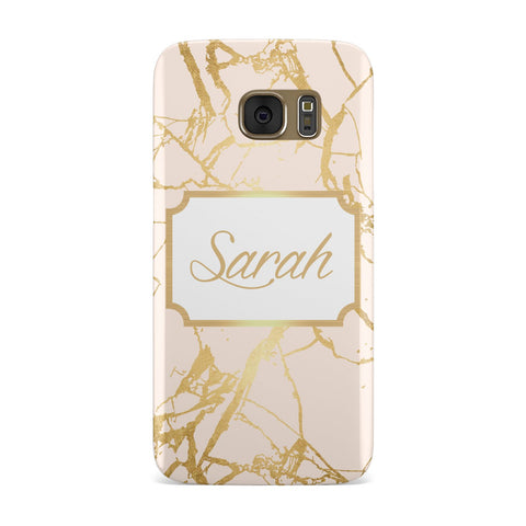 Personalised Gold Marble Pink & Name Samsung Galaxy Case