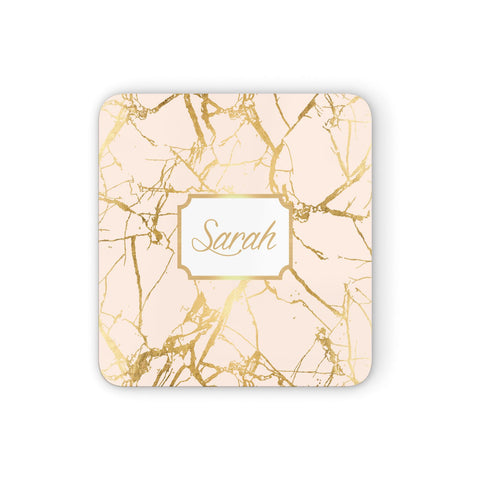 Personalised Gold Marble Pink & Name Coasters set of 4