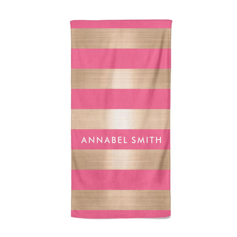 Personalised Gold Pink Stripes Name Initial Beach Towel