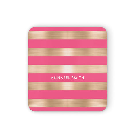 Personalised Gold Pink Stripes Name Initial Coasters set of 4