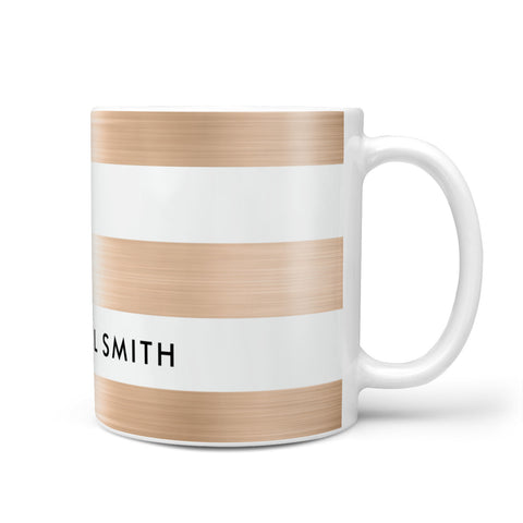 Personalised Gold Striped Name Initials Mug