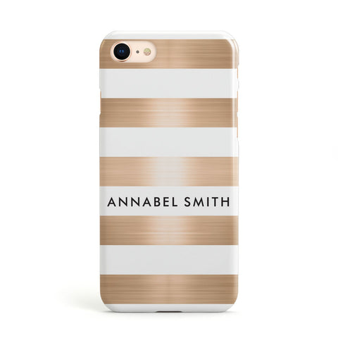 Personalised Gold Striped Name Initials Apple iPhone Case