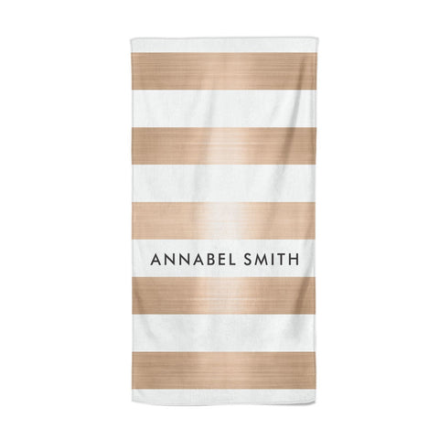 Personalised Gold Striped Name Initials Beach Towel