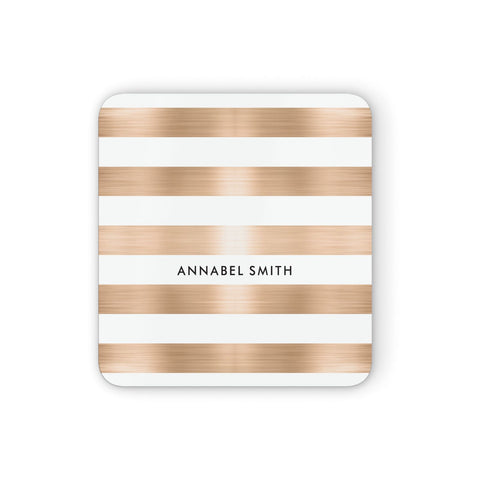 Personalised Gold Striped Name Initials Coasters set of 4