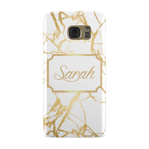 Personalised Gold White Marble & Name Samsung Galaxy Case
