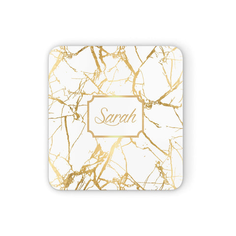 Personalised Gold White Marble & Name Coasters set of 4