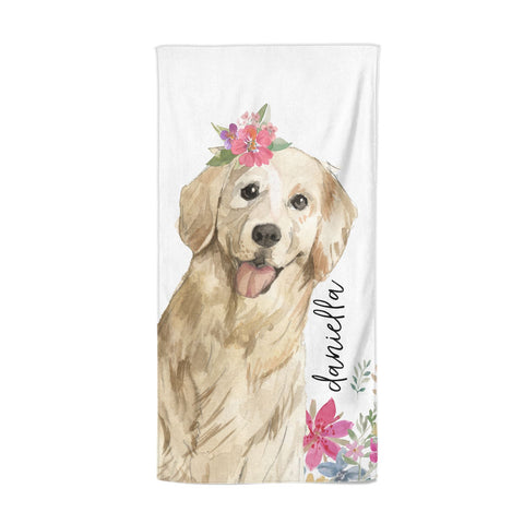 Personalised Golden Retriever Dog Beach Towel