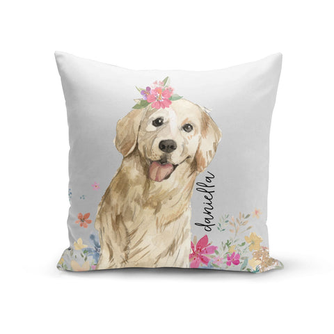 Personalised Golden Retriever Dog Cushion
