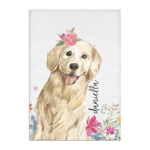 Personalised Golden Retriever Dog Tea Towel