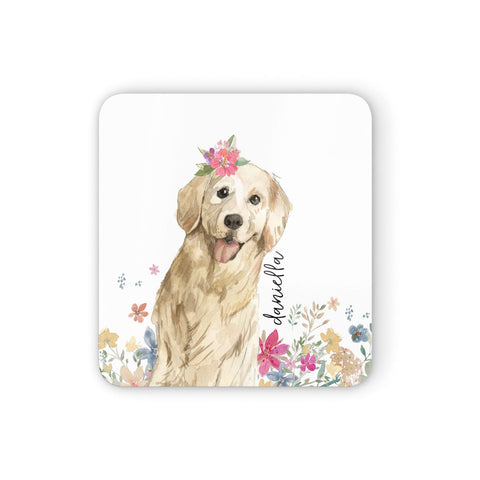 Personalised Golden Retriever Dog Coasters set of 4