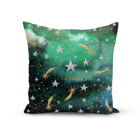 Personalised Green Cloud Stars Cushion