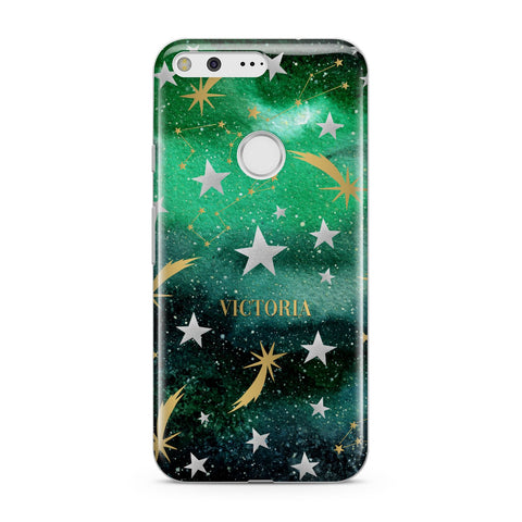 Personalised Green Cloud Stars Google Case