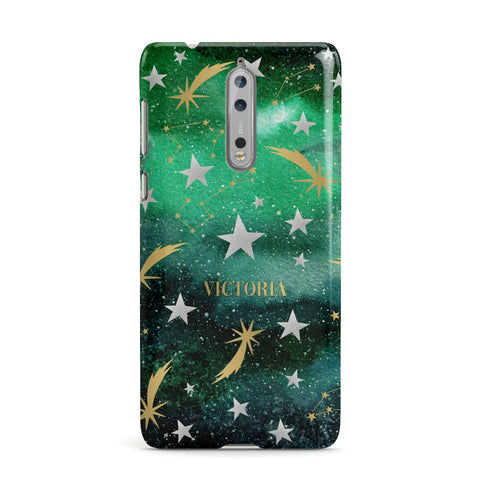 Personalised Green Cloud Stars Nokia Case