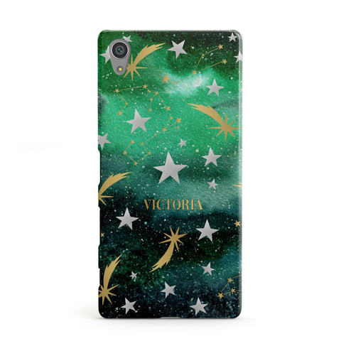 Personalised Green Cloud Stars Sony Case