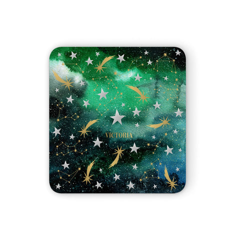 Personalised Green Cloud Stars Coasters set of 4