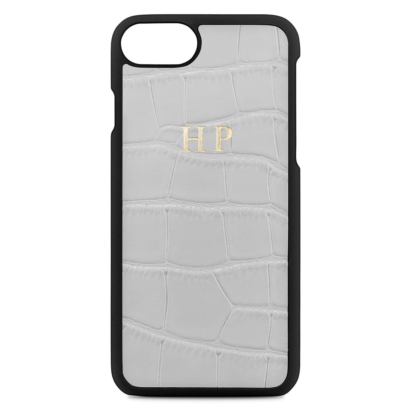 Personalised Grey Croc Leather iPhone Case