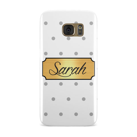 Personalised Grey Dots & Gold With Name Samsung Galaxy Case