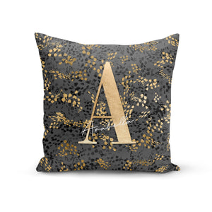 Personalised Grey Gold Cheetah Cotton Cushion