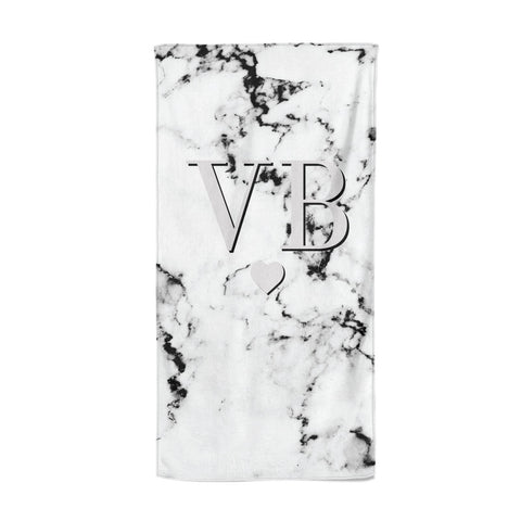 Personalised Grey Initialed Marble Heart Beach Towel