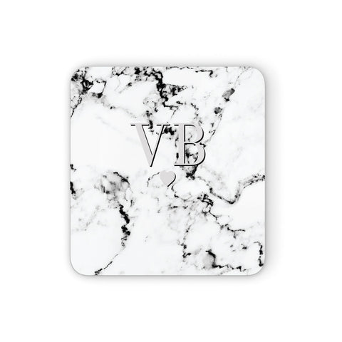 Personalised Grey Initialed Marble Heart Coasters set of 4
