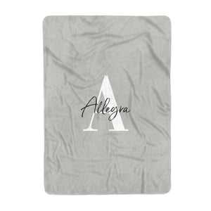 Personalised Grey Initials And Name Large Fleece Blanket