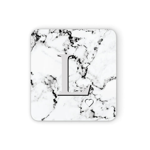 Personalised Grey Initials Heart Marble Coasters set of 4