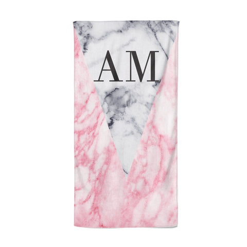 Personalised Grey Inset Marble Initials Beach Towel