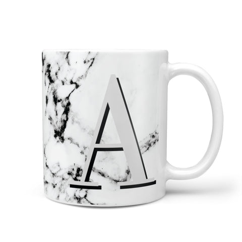 Personalised Grey Large Initial Marble Mug