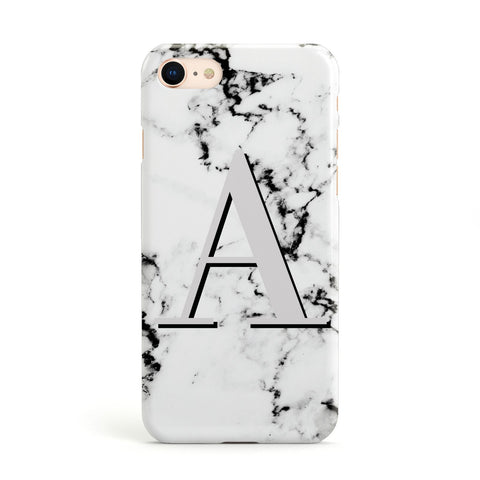 Personalised Grey Large Initial Marble Apple iPhone Case