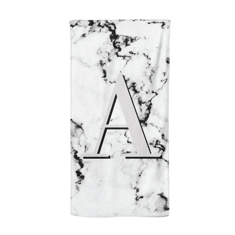Personalised Grey Large Initial Marble Beach Towel