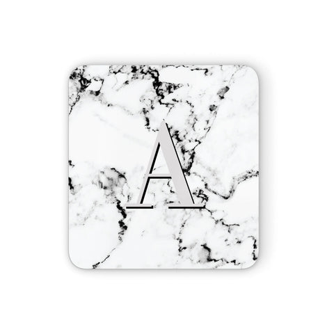 Personalised Grey Large Initial Marble Coasters set of 4